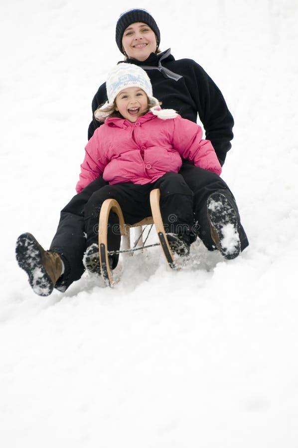 sledding的时间冬天 库存照片