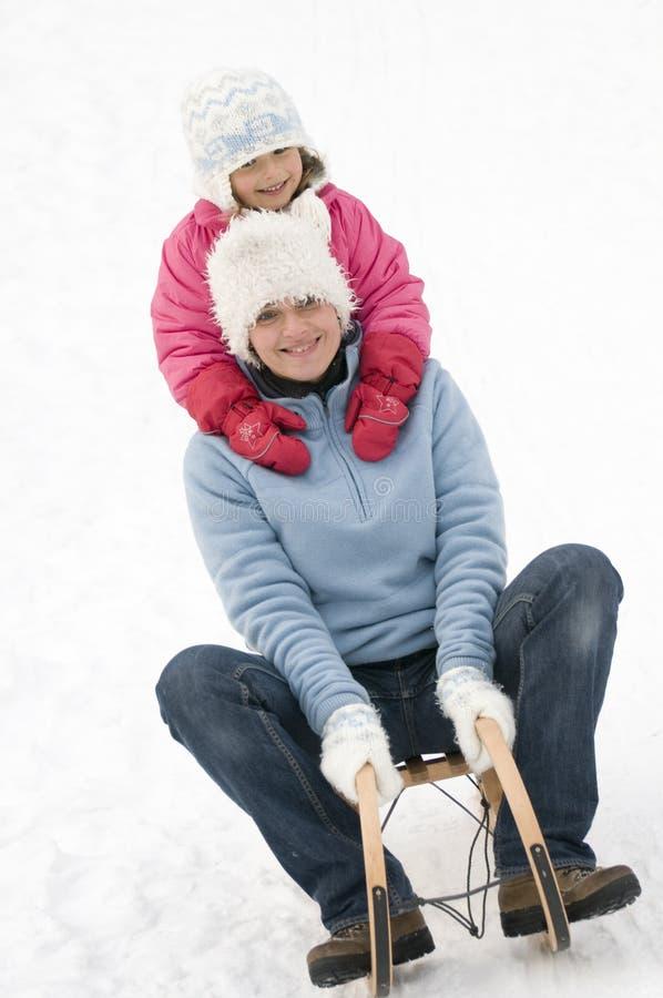 sledding的时间冬天 库存图片