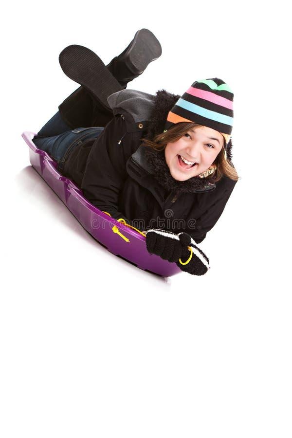 Download Sledding stock photo. Image of white, isolated, girl - 27976644