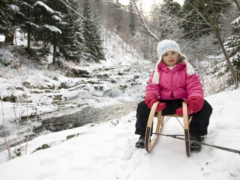 Sledding bij wintertijd stock foto's