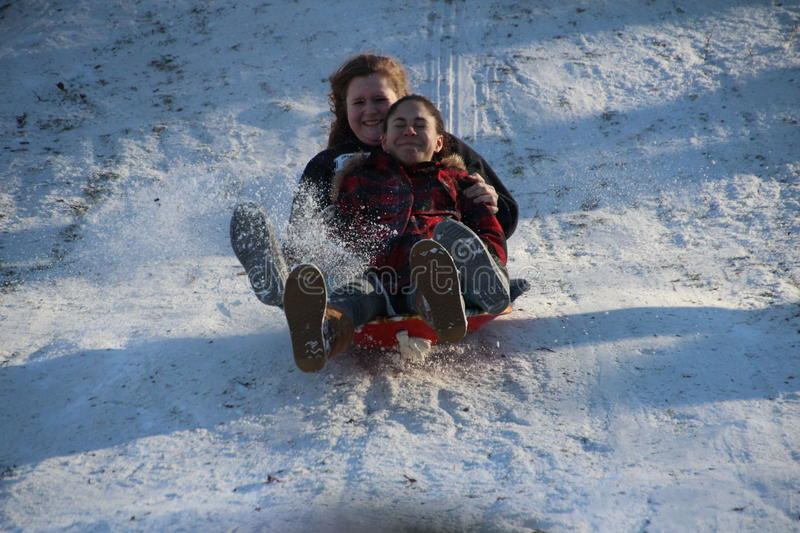 Download Sledding in Central Park editorial stock image. Image of jacket - 29143794