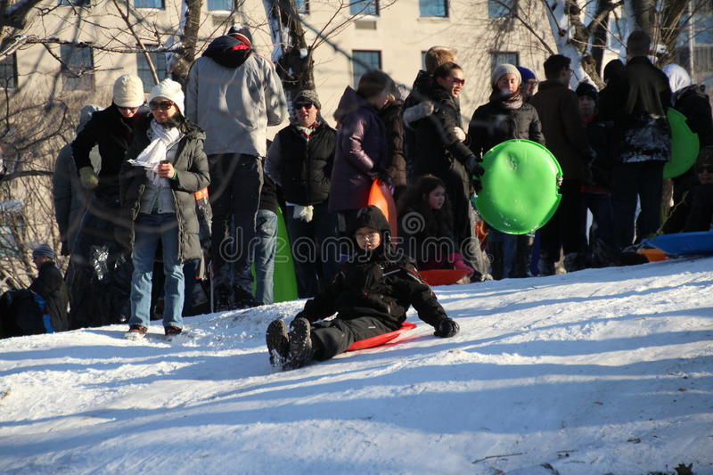 Sledding In Central Park Editorial Stock Photo