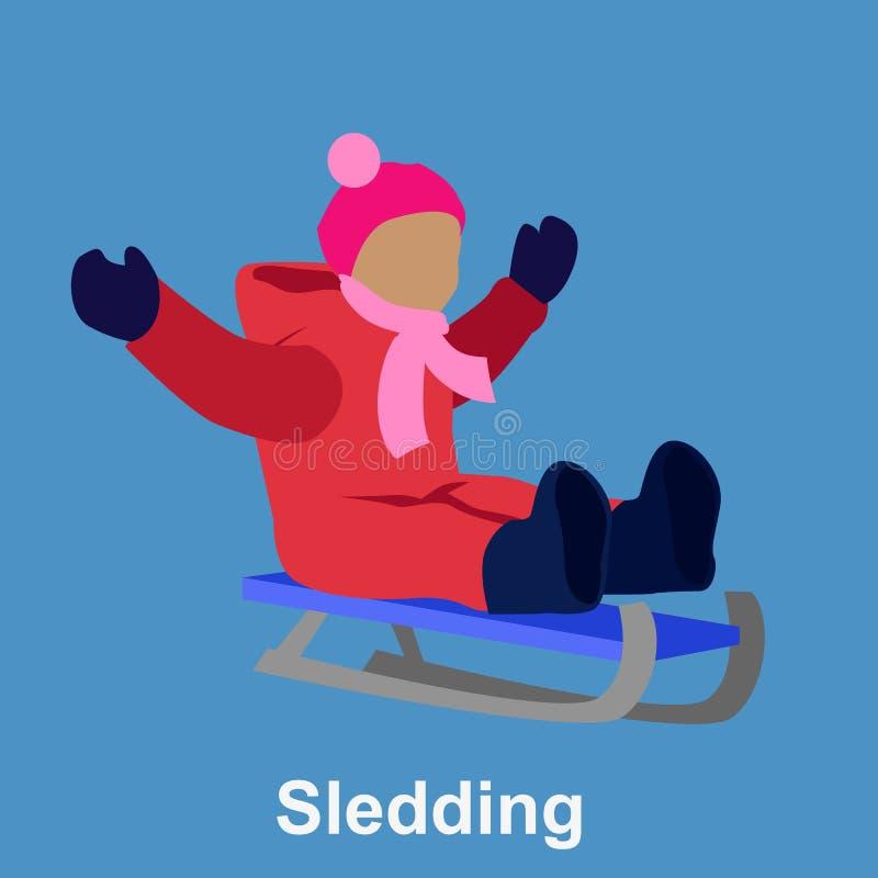 Sledding children design flat style royalty free illustration