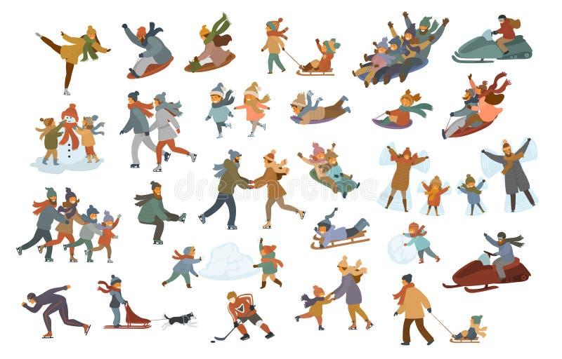 Sledding för familj för barn för ungar för mankvinnapar, skridskoåkning på en isbana och att spela och att göra snögubbe- och snö royaltyfri illustrationer