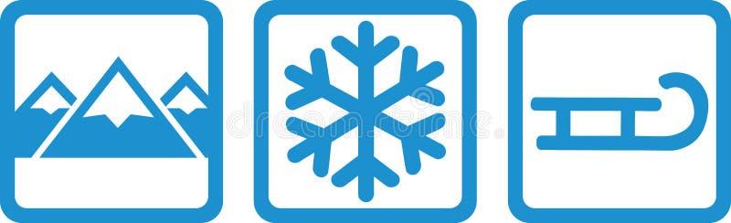 Sledding fun - mountains, snow and sled royalty free illustration