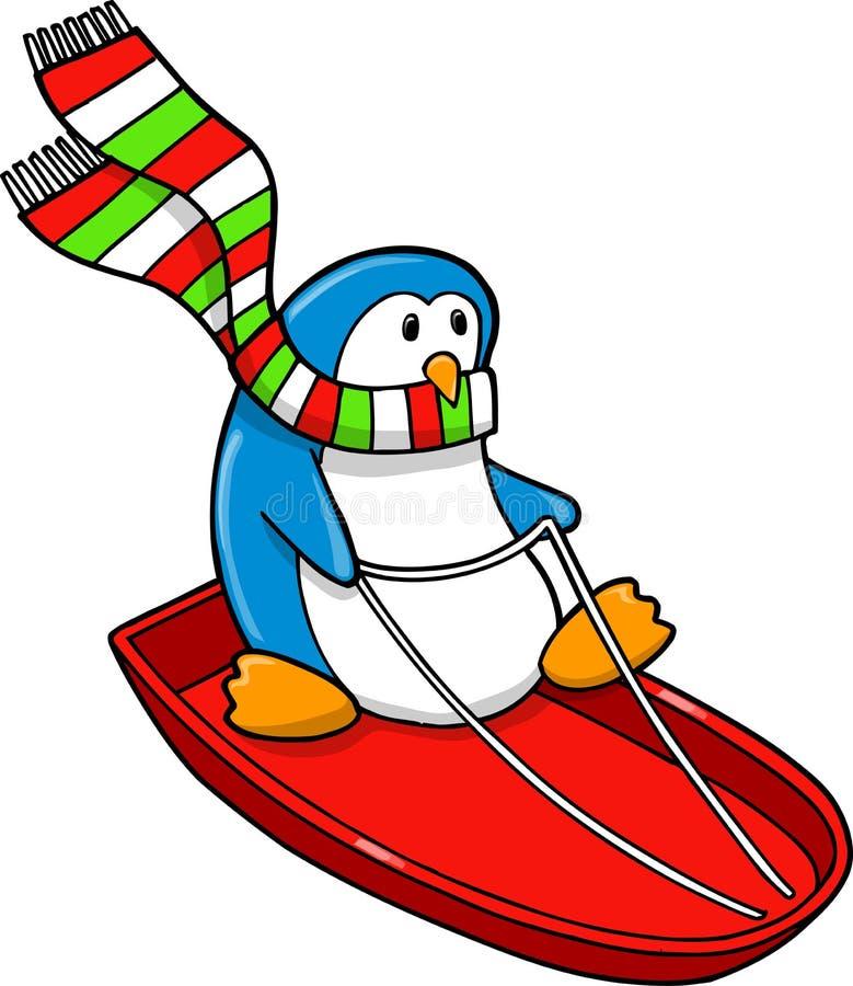 sledding holiday penguin stock vector illustration of