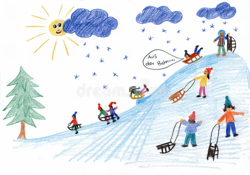 Sledding kids on the hill - children painting stock illustration
