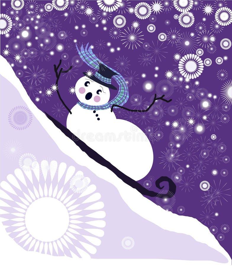 sledding sneeuwmanvector vector illustratie