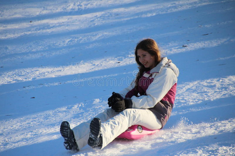 Sledding w central park fotografia royalty free