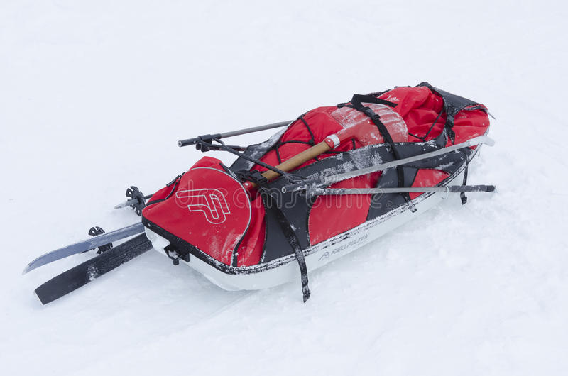 Sledge for back-country skiing stock photos