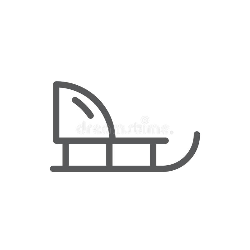 Sledge editable icon vector illustration - outline symbol of winter equipment for active and funny leisure. Sledge editable icon vector illustration - outline stock illustration
