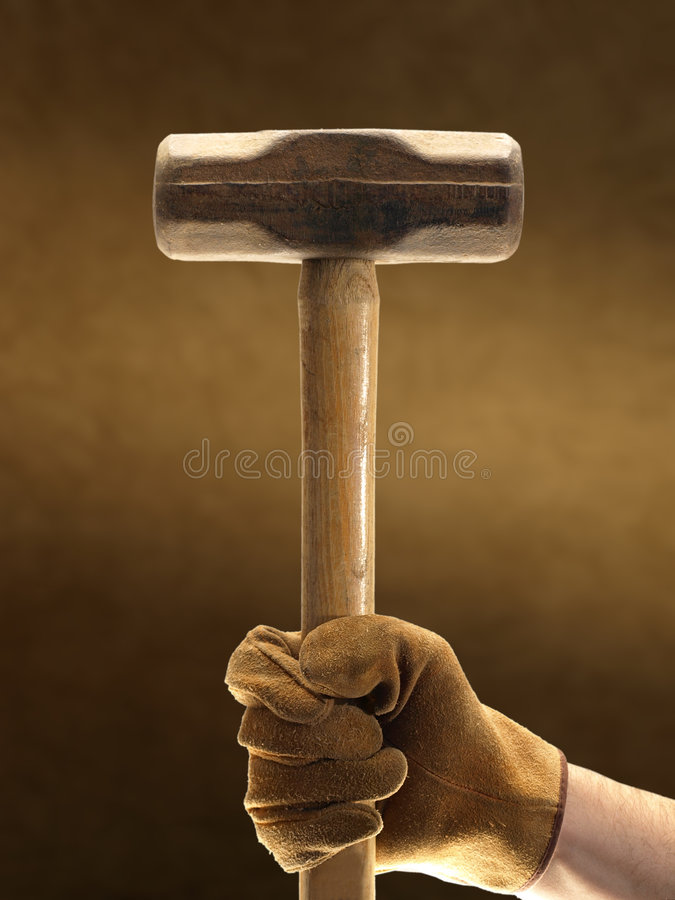 Sledge Hammer and Glove royalty free stock photo