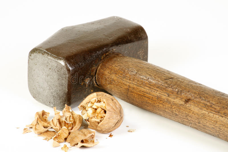 Sledge hammer and nut royalty free stock image