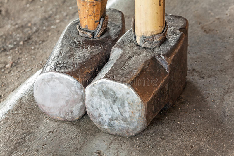 Sledge Hammers Myanmar. Sledge hammers for forging iron. Inlay (Inle) lake, Myanmar royalty free stock photography