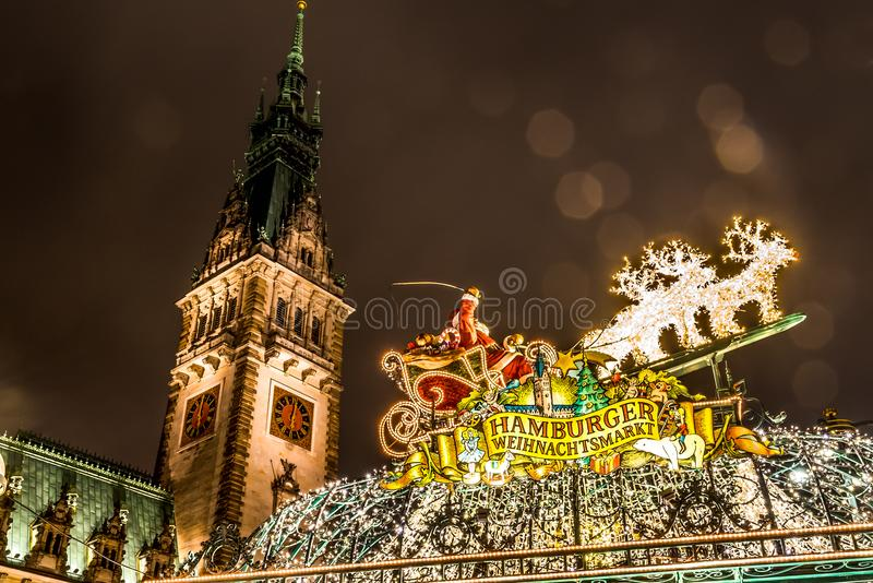 Entrance of Hamburg Nostalgic Christmas Market stock image
