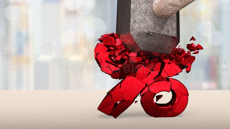 Sledgehammer che rompe il segno percentuale rosso fotografie stock libere da diritti