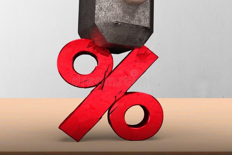 Sledgehammer smashing red percentage sign cracked royalty free stock images