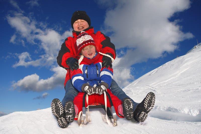 sledging的冬天 库存图片