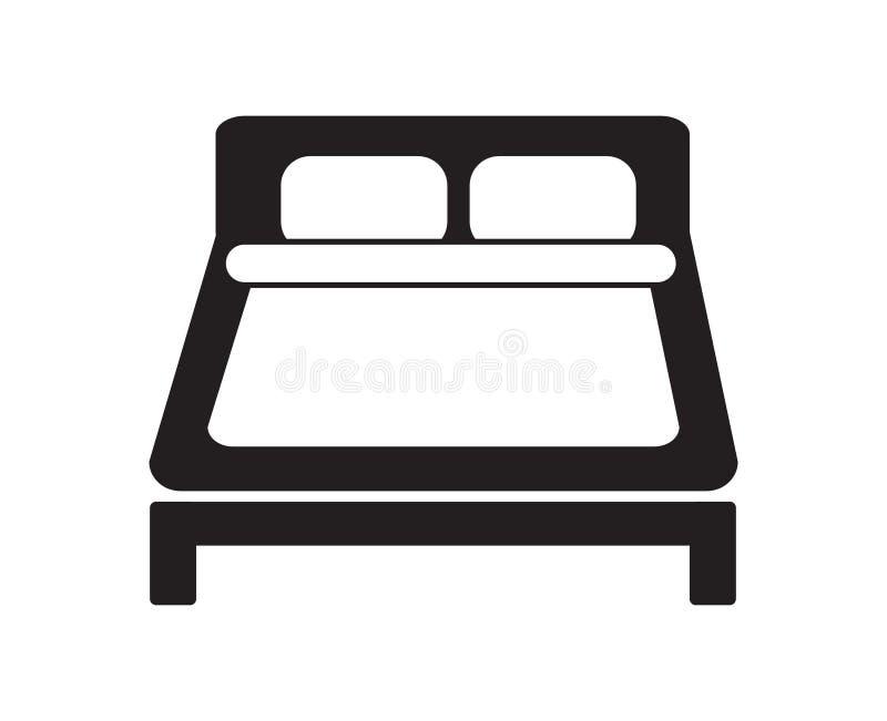 Slee noir et blanc simple d'appartement de signe d'hôtel d'icône de double lit illustration libre de droits