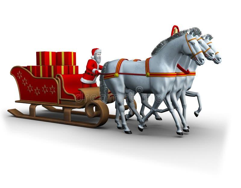 Slee van Kerstman whith drie witte paarden vector illustratie