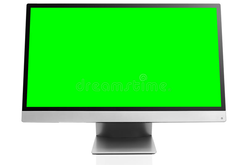 Sleek modern computer display on white background with reflection. Sleek modern computer display with blank green chroma key screen, front view tilted and royalty free stock images
