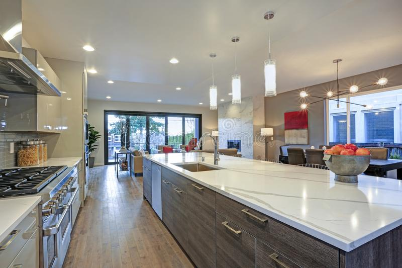 Sleek Modern Kitchen Design With A Long Center Island Stock Photo Image Of Large Contemporary 121713520