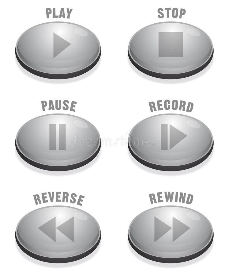 Sleek Silver Button stock illustration