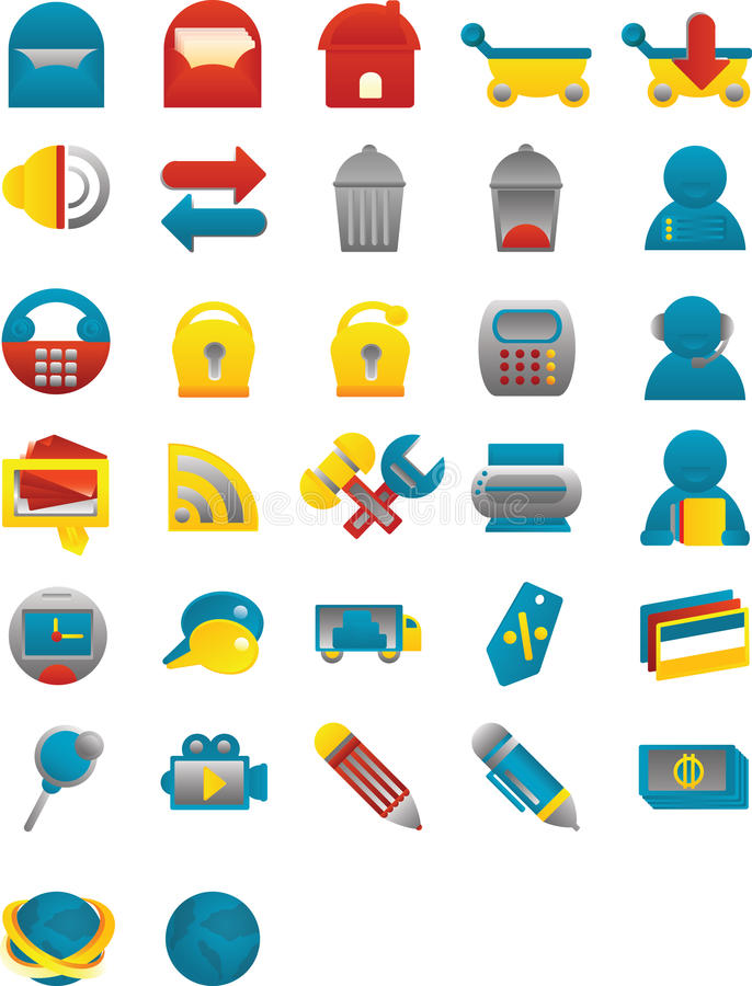 Download Sleek Web Icons stock vector. Illustration of cute, shopping - 14474727