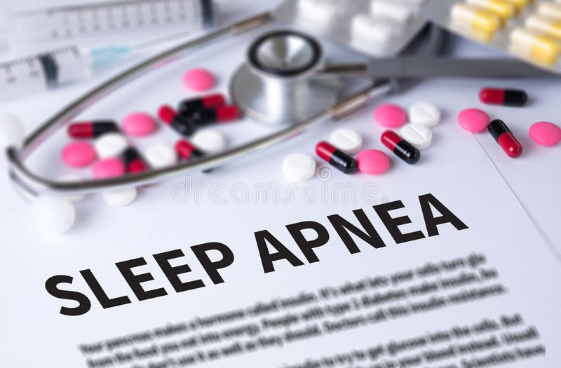 SLEEP APNEA. And Background of Medicaments Composition, Stethoscope, mix therapy drugs doctor and selectfocus royalty free stock photo