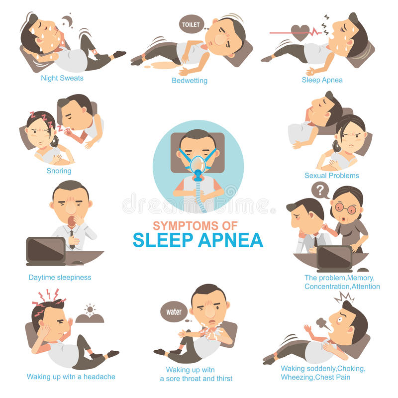 Sleep Apnea. Man Symptoms and signs sleeping apnea The impact on married life and his work. Info Graphics illustrations