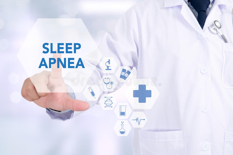 SLEEP APNEA. Medicine doctor working with computer interface as medical royalty free stock image
