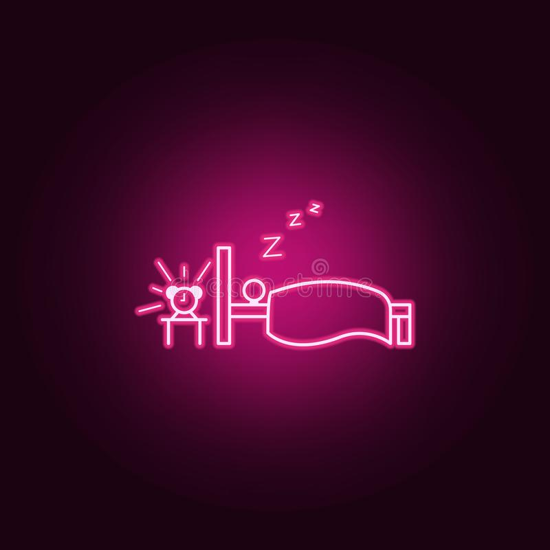 Sleep away outline icon. Elements of Lazy in neon style icons. Simple icon for websites, web design, mobile app, info graphics. On dark gradient background stock illustration
