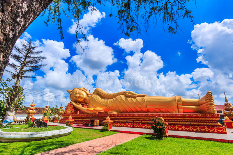 Sleep buddha in temple Vientiane, Laos , They are public domain. Wat Thap Luang in Vientiane of Laos stock photography