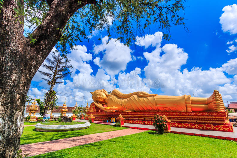 Sleep buddha in temple Vientiane, Laos , They are public domain. Wat Thap Luang in Vientiane of Laos royalty free stock photography