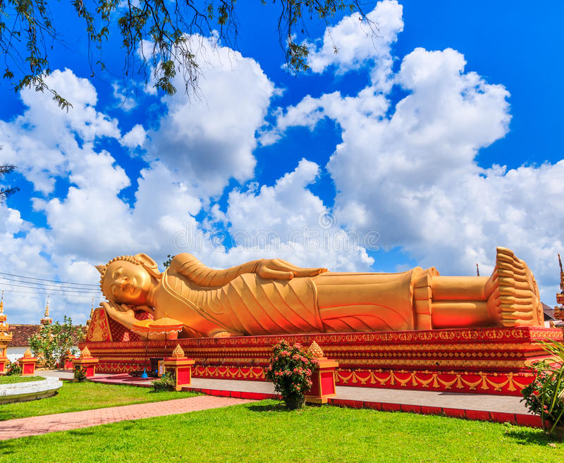 Sleep buddha in temple Vientiane, Laos , They are public domain. Wat Thap Luang in Vientiane of Laos royalty free stock photo