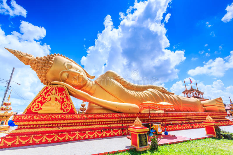 Sleep buddha in temple Vientiane, Laos , They are public domain. Wat Thap Luang in Vientiane of Laos stock photos