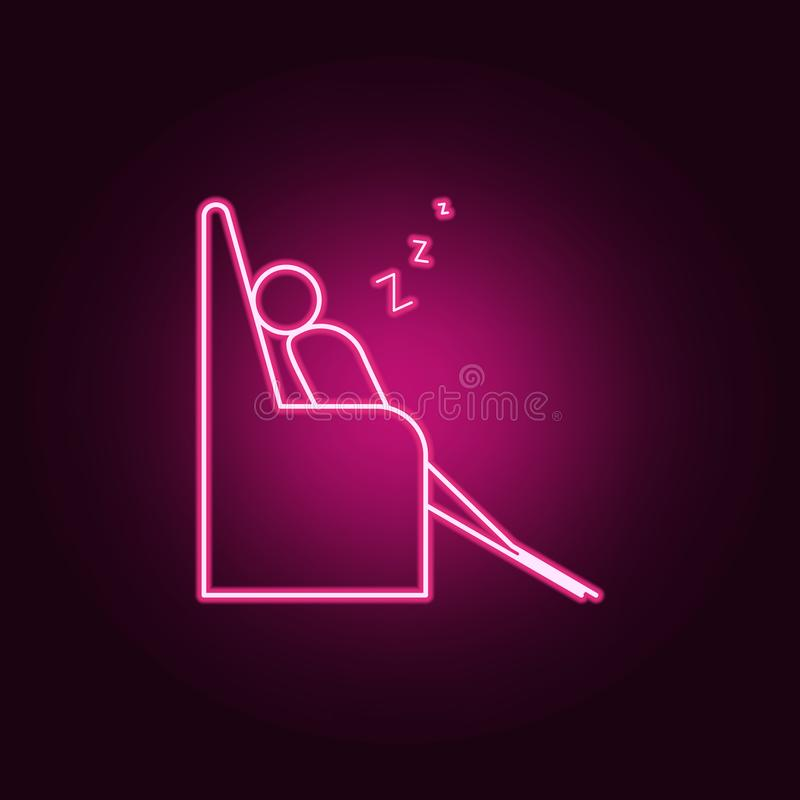 Sleep on couch outline icon. Elements of Lazy in neon style icons. Simple icon for websites, web design, mobile app, info graphics. On dark gradient background royalty free illustration