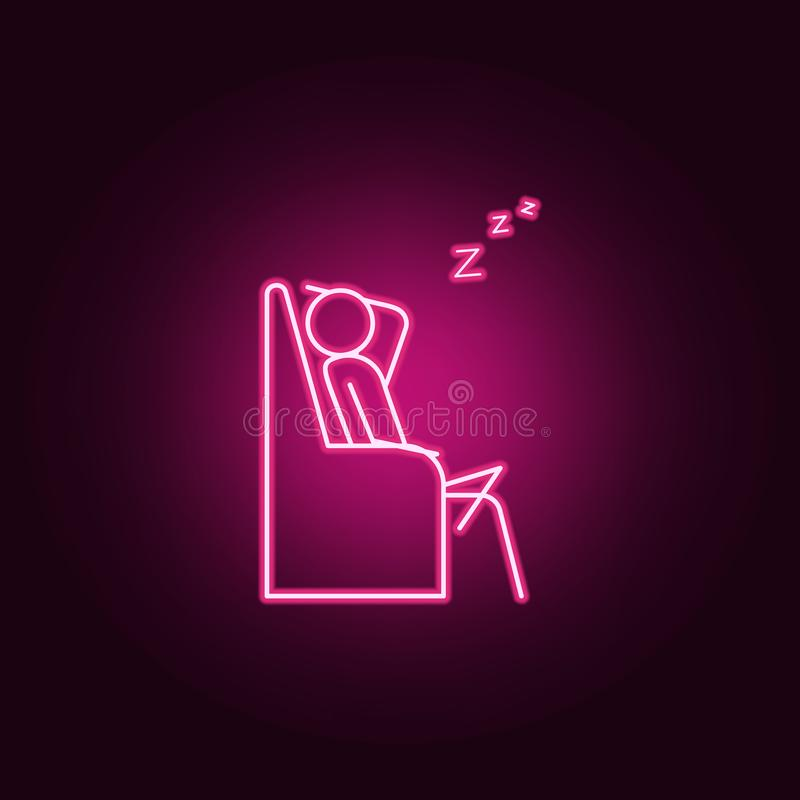 Sleep on couch outline icon. Elements of Lazy in neon style icons. Simple icon for websites, web design, mobile app, info graphics. On dark gradient background vector illustration