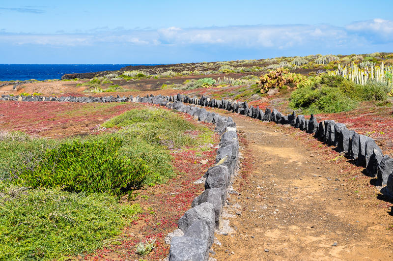 Sleep door het landschap van Tenerife, Canarische Eilanden royalty-vrije stock foto's