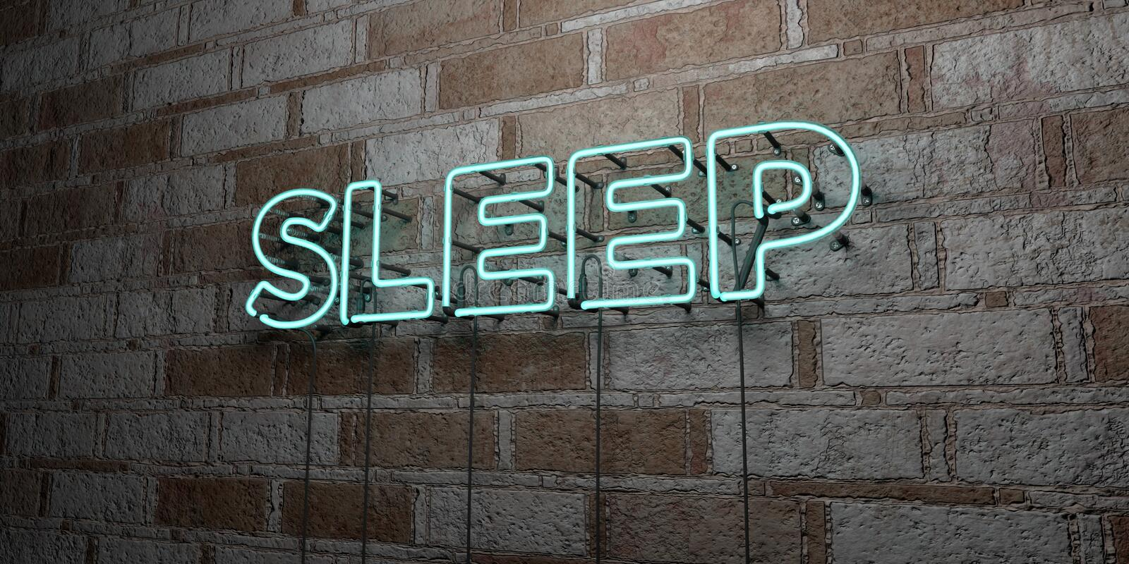 SLEEP - Glowing Neon Sign on stonework wall - 3D rendered royalty free stock illustration. Can be used for online banner ads and direct mailers stock illustration