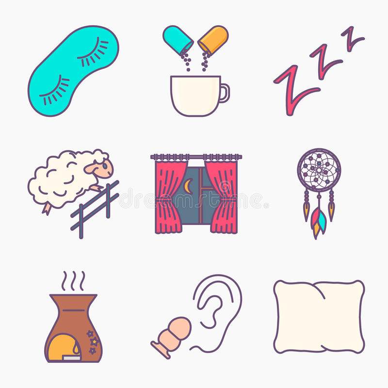 Sleep and insomnia icons royalty free illustration