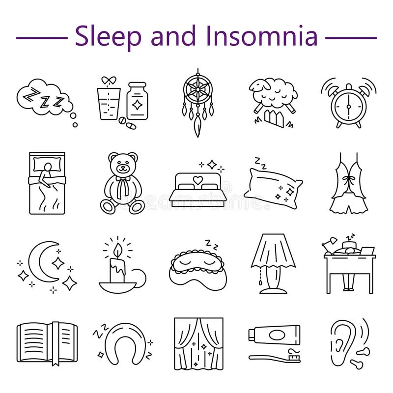 Sleep And Insomnia Line Icons Set Stock Vector Illustration Of