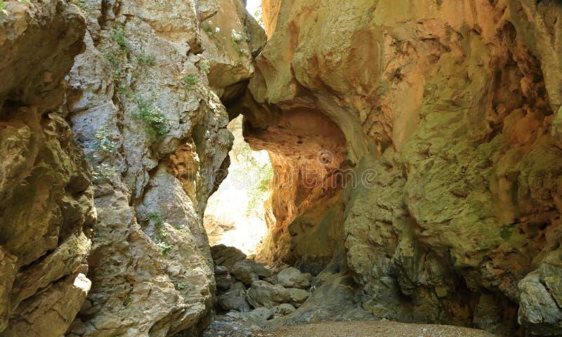 Sleep in Kollita-kloven Moudriano, Poros, Moundros-kloof, Kreta, Griekenland stock fotografie