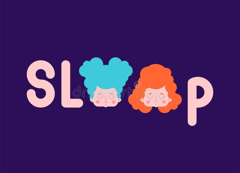 Sleep Lettering typography. Sleeping little girl and letters. Vector illustration.  royalty free illustration