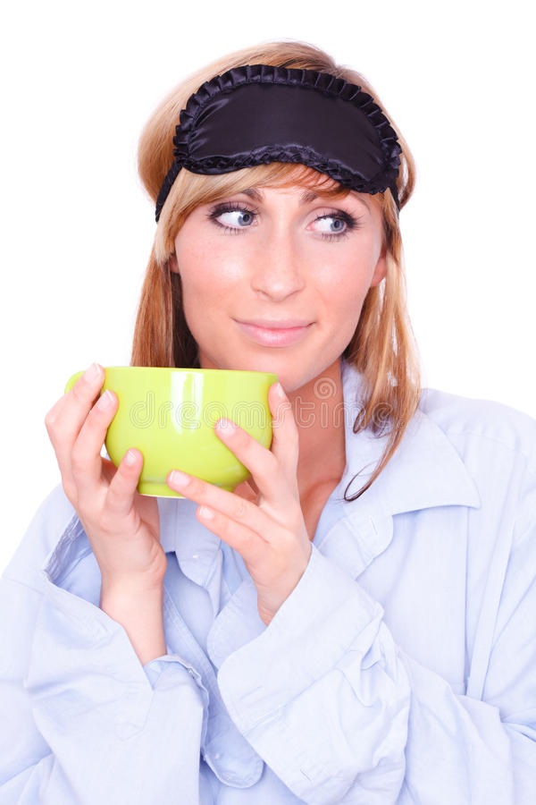Download Sleep mask woman stock photo. Image of girl, close, coffee - 13710888