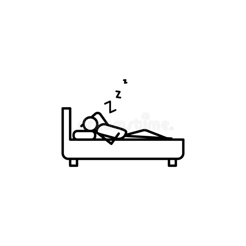 Sleep outline icon. Element of lazy person icon for mobile concept and web apps. Thin line icon sleep can be used for web and mobi. Le on white background stock illustration