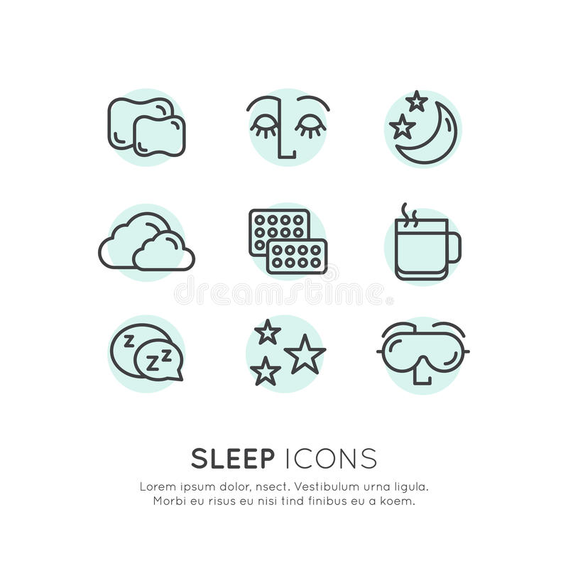 Sleep problems and insomnia icons. Isolated Vector Style Illustration Logo Set Badge with Sleep problems and insomnia icons, treatment and pills, sleeping person vector illustration