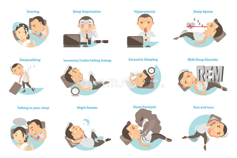 Sleep Problems. Man with sleep problems. Vector illustration royalty free illustration