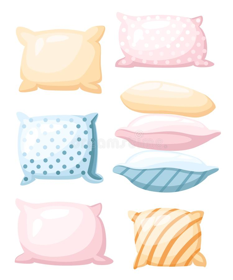 Sleep and rest symbol accessories for night rest pillows of pastel colors with a print striped and dotted in different angles icon. In cartoon style isolated on stock illustration