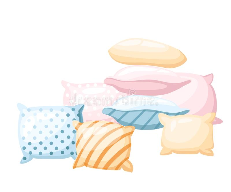 Sleep and rest symbol accessories for night rest pillows of pastel colors with a print striped and dotted in different angles icon. In cartoon style isolated on royalty free illustration